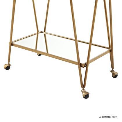Linon Ellie AJUBAR4GLDKD01 Serving Carts, AJUBAR4GLDKD01 Gold Mid Century Bar Cart Bottom Shelf