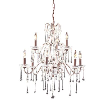 4013/6+3CL Opulence 9-Light Chandelier in Rust with Clear