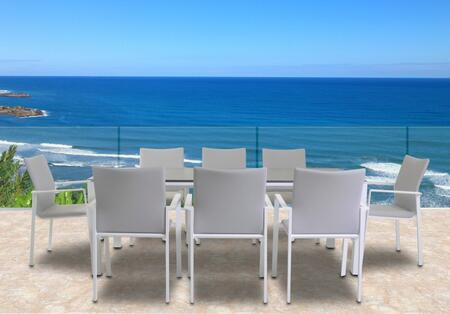 Fine Line Sense Collection LF08409WTB2039CT 9 Piece Outdoor Dining Set with Rectangular Ceramic Table Top  Powder-Coated Aluminum Frame and Quick-Dry