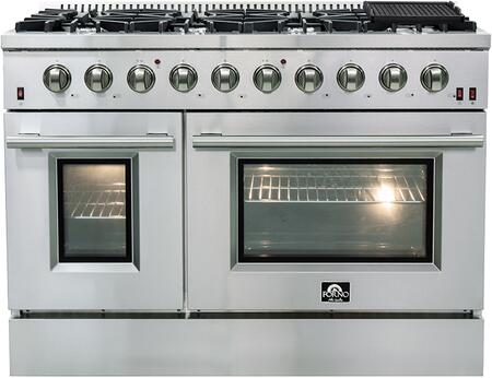 FFSGS6244-48 48″ Stainless Steel Natural Gas Range with 6.58 cu. ft. Total Capacity  8 Italian Defendi Burners  Convection Fan and Cast Iron