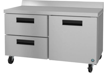 WR60A-D2 60″ Steelheart Series Two Section Worktop Refrigerator with 17.55 cu. ft. Capacity  1 Door  2 Drawers and 6″ Casters  in Stainless