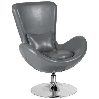 Flash Furniture Egg Series CH162430GYLEAGG Accent Chair Gray, CH 162430 GY LEA GG