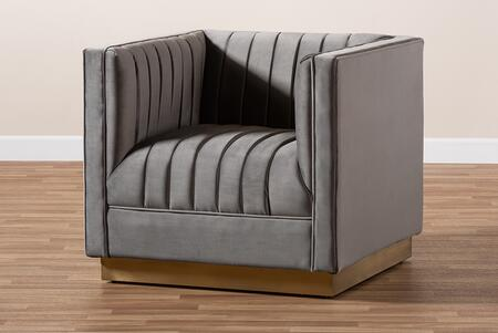 TSF-BAX66111-GREY/GOLD-CC Aveline Glam and Luxe Grey Velvet Fabric Upholstered Brushed Gold Finished