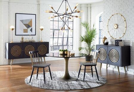 Nubian Collection ZWTNRD48MBF Dining Table in Black
