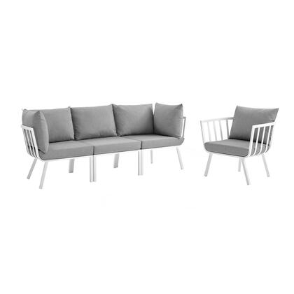 Riverside Collection EEI-3784-WHI-GRY 4 Piece Outdoor Patio Aluminum Set with Powder-Coated Aluminum Frame  All-Weather Fabric Cushions and Plush 4″