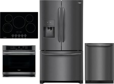4 Piece Kitchen Appliances Package with FGHD2368TD 36″ French Door Refrigerator  FGEW3066UD 30″ Electric Single Wall Oven  FGEC3068UB 30″ Electric