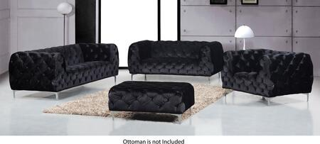 Meridian Mercer 646BLSLC Living Room Set Black, Main Image
