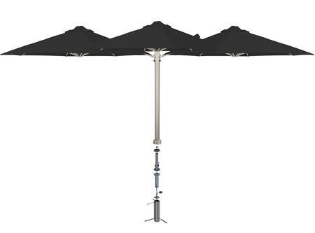 Shadowspec SU6 Series KITP6SQ25TRIOGABLKA Outdoor Umbrella Black, Black Widow