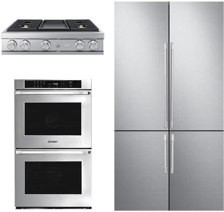 3 Piece Kitchen Appliances Package with DRF427500AP 42″ French Door Refrigerator  HWO230ES 30″ Electric Double Wall Oven and DTT36M974HS 36″ Gas