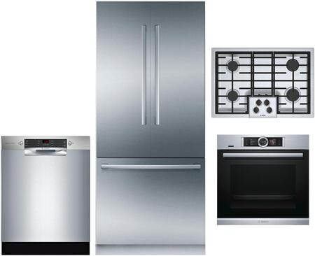 4 Piece Wi-Fi Connected Kitchen Appliances Package with B36BT930NS 36″ French Door Refrigerator  HBE5452UC 24″ Electric Single Wall Oven  NGM5056UC