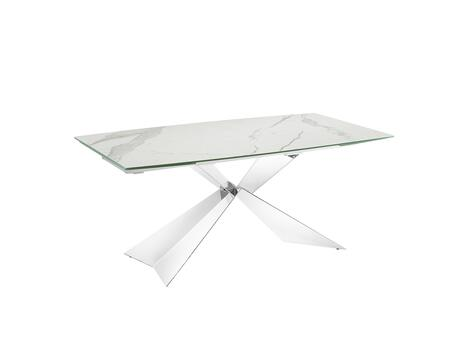Carrara TC-MT02MAR 71″ – 103″ Motorized Extendable Dining Table with 2 Remote Controls  2 Safety Lock Keys  Rectangular Shape  Marbled Porcelain Top