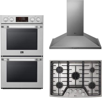 3 Piece Kitchen Appliances Package with LSWD307ST 30″ Electric Double Wall Convection Oven  LSCG307ST 30″ Gas Cooktop and HCED3015S 30″ Wall Mount