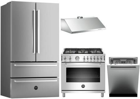 4 Piece Kitchen Appliances Package with REF36X 36″ French Door Refrigerator  PROF366GASXT 36″ Gas Range  K36HERTX 36″ Wall Mount Recirculating Hood