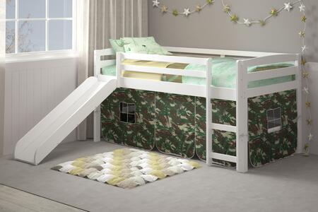 36ST-4700-WH-C Danny Camo tent loft bed with slide and