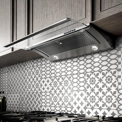 EGL430S1 30″ Iconic Series Glide Slide Out Under Cabinet Hood with 400 CFM Internal Blower  1 Dishwasher-Safe Stainless Steel Mesh Filter  4 Fan