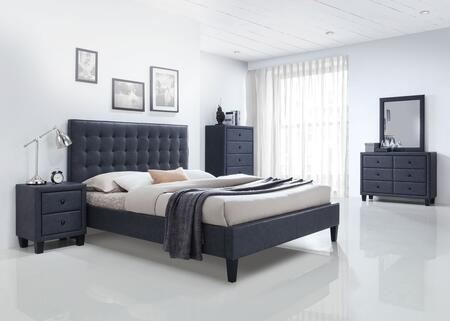 Acme Furniture Saveria 25657EKSET Bedroom Set Gray, 5 PC Bedroom Set