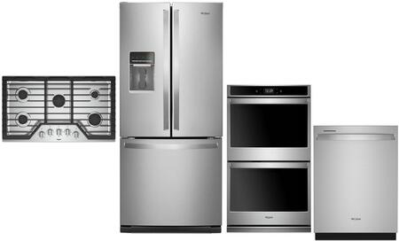 """4 Piece Kitchen Appliance Package with WRF560SEHZ 30"""" French Door Refrigerator WOD77EC7HS 27"""" Smart Electric Double Wall Oven WCG97US6HS 36"""" Gas"""