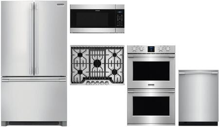 5 Piece Kitchen Appliances Package with 36″ French Door Refrigerator  30″ Electric Double Wall Oven  30″ Gas Cooktop  24″ Built In Microwave and 24″