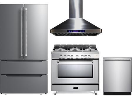 4 Piece Kitchen Appliances Package with VERF36CDSS 36″ French Door Refrigerator  VPFSGG365SS 36″ Gas Range  VEHOOD36CH 36″ Wall Mount Range Hood and