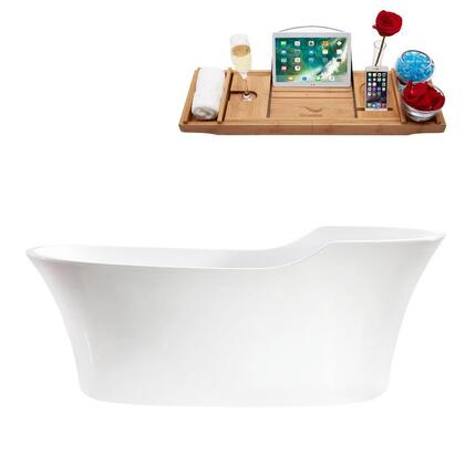 M-2280-68FSWH-FM 68″ Soaking Freestanding Tub and tray With Internal Drain in
