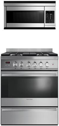"""2-Piece Kitchen Appliances Package with OR30SDG4X1 30"""" Gas Range and CMOH30SS2Y 30"""" Over The Range Microwave in Stainless"""