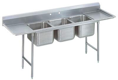 "T9-83-60-18RL-X Three-Compartment Regaline Pan Sink with Right and Left Side Drainboards  20"""" x 28"""" Bowl and 8"""" Splash in Stainless -  Advance Tabco"