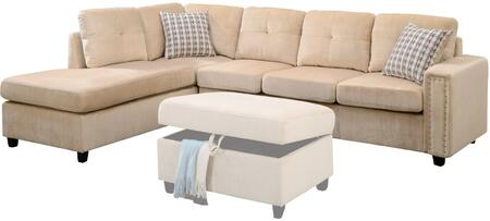 Acme Furniture Belville 52705 Sectional Sofa Beige, Sectional Sofa