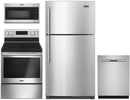 4 Piece Kitchen Appliances Package with MRT711SMFZ 33″ Top Freezer Refrigerator  MER6600FZ 30″ Electric Range  MDB4949SHZ 24″ Built In Full Console