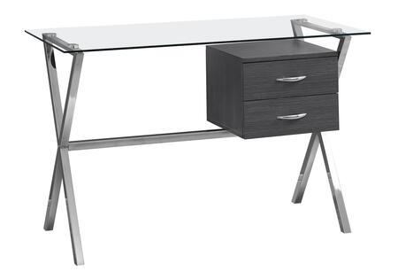 333414 48″ Desk with with 2 Drawers  Clear Tempered Glass Top  Metal Handles  Rectangular Shape  Metal Frame and Particle Board Material in Gray