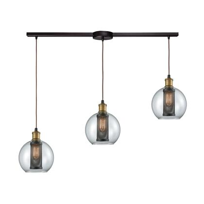 14530/3L Bremington 3 Light Linear Bar Pendant in Tarnished Brass/Oil Rubbed Bronze with Clear Glass and