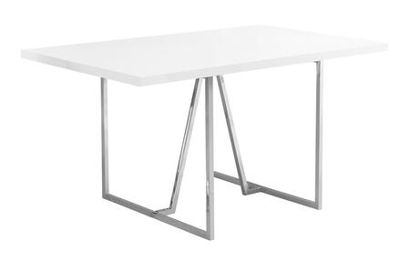332592 60″ Dining Table with Rectangular Shape  Metal Legs  Contemporary Style  Particle Board and Medium-Density Fiberboard (MDF) Materials in White