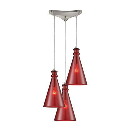 10781/3 Parson 3-Light Triangle Pan in Satin Nickel with Wine Red Glass