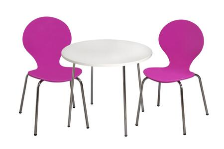 3012PU Modern Children's Table and 2 Chair Set with Chrome Legs (Purple Color