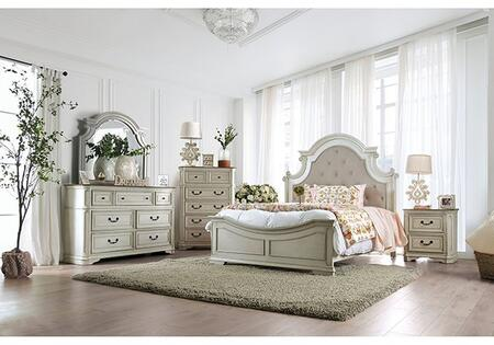 Furniture of America Pembroke CM7561CKBEDNCDM Bedroom Set White, CM7561CKB-NCDM