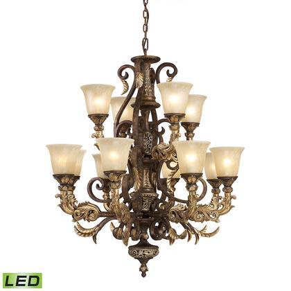 2165/8+4-LED Regency 12-Light Chandelier in Burnt Bronze – Includes LED