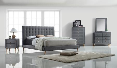 Acme Furniture Valda 24517EKSET Bedroom Set Gray, 5 PC Bedroom Set