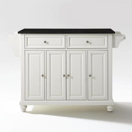 Cambridge Collection KF30004DWH Granite Top Island/Cart in White