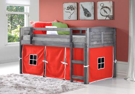 790-AAG-750C-TR 78″ Twin Louver Low Loft Bed with Built in Ladder  Red Tent  Panel Headboard and Footboard in Antique