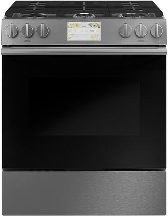 C2S900M2NS5 30″ Modern Glass Slide-In Dual Fuel Range with 6 Sealed Burners  5.7 cu. ft. Oven Capacity  Cast Iron Griddle  7″ LCD Touch Screen  Wifi