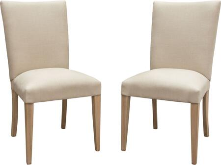 Francis Collection FRANCISDCSD2PK Set of 2 Dining Side Chairs with Sand Linen Seat and Back Upholstery  and Wood Legs in Grey Oak