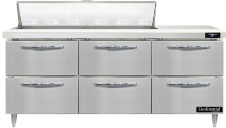 Continental Refrigerator Designer Line D72N12D Prep Refrigerator Stainless Steel, D72N12-D Standard Top Sandwich Unit Refrigerator