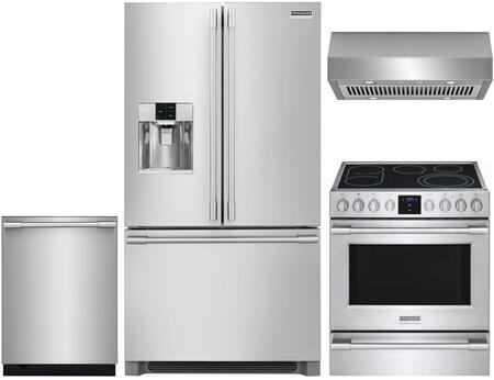 4 Piece Kitchen Appliances Package with FPBS2778UF 36″ French Door Refrigerator  FPEH3077RF 30″ Electric Range  FHWC3050RS 30″ Under Cabinet Ducted