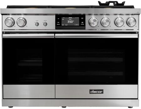 Dacor Contemporary DOP48M86DAS Freestanding Dual Fuel Range Stainless Steel, Front View