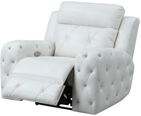 U8311-BLANCHE WHITE-PR Power Recliner 43″ with Posh Crystal Tufted Arms and Leek Brushed Nickel Backlit Power Button with Built in USB Charging Port