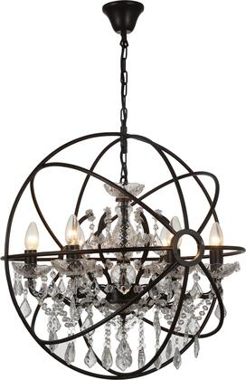 9849/6P 6-Light Chandelier with Metal and Crystal Materials and 40 Watts in Rustic Brozne
