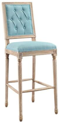 W03489B Avalon Tufted Square Back Bar Stool With Decorative Elm Frame   Blue Fabric Upholstery 5% Linen  95% Poly Fabric And Bar Stool In Rustic