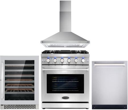 Cosmo  COS4PKG090 Kitchen Appliance Package Stainless Steel, COS 4PKG 090