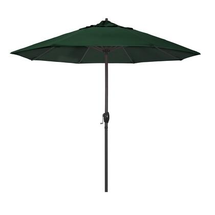 Casa Collection ATA908117-5446 9′ Patio Umbrella With Bronze Aluminum Pole Aluminum Ribs Auto Tilt Crank Lift With Sunbrella 1A Forest Green