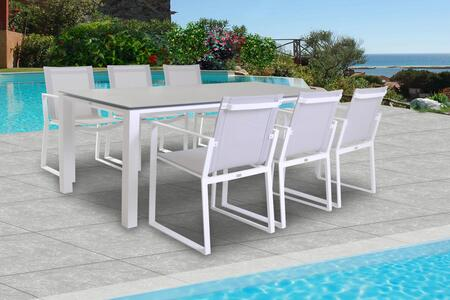 Fine Line Primavera Collection LF05407WTB2039CT 7 Piece Outdoor Dining Set with Ceramic Table Top  Rectangular Shape  Metal Frame Construction and