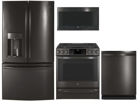 GE Profile  1139044 Kitchen Appliance Package Black Stainless Steel, Main image